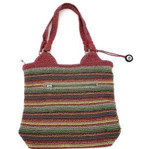 The Sak Womens Crochet Knit Hobo Shoulder Handbag